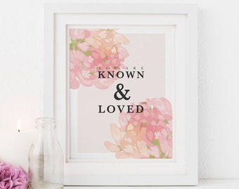 You Are Known and Loved, Beloved Scripture, Illustrated Faith Art, Scripture Print for Her Bible Journaling Gift Bossy Lady Digital