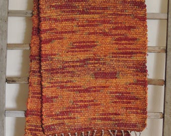 "Hand Woven Autumn Orange Red Table Runner - 14"" x 55"""