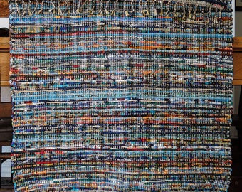 """Hand Woven Rag Rug - Patchwork Blues Cotton 28"""" x 40"""""""