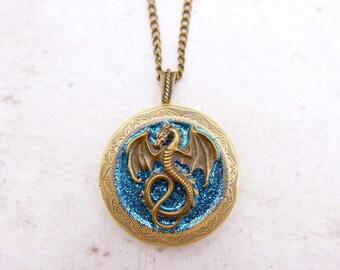 Dragon Necklace  VintageDragon Locket, 3030M