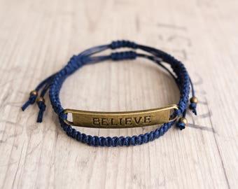 Believe bracelet Mens bracelet set Macrame bracelet Gift for him Hipster gift Friendship bracelet BFF bracelets