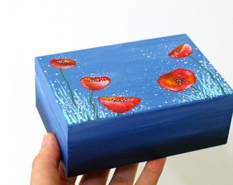 Wooden Keepsake box Wooden poppies jewelry box Women box Red flowers jewelry box Blue and red wooden jewelry box Original painted keepsake