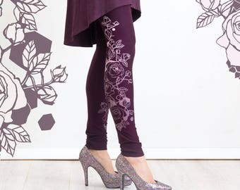 Burgundy Rose - leggings