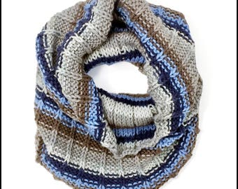 Hand-Knit Baker Street Striped Cowl