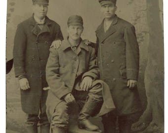 Antique 1/6 Plate Tintype Photo: Young Men in Coats Caps & Boots (77593)