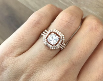 Cushion Cut Bridal Set- Bridal Engagement Ring Set- Alternative Wedding Set Ring- Square Shape Ring Set for Her- Halo Engagement Set