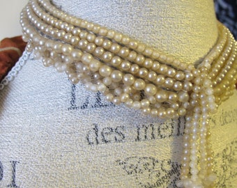 Japan Pearl Bead Neckline Neck or Sweater Collar. Cream-Beige Costume Glass Pearl Beaded COLLAR. Made in Japan 1950's Fashion Accessory