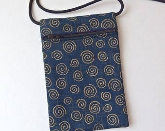 Pouch Zip Bag NAVY BLUE Fabric.  Great for walkers, markets, travel.  Cell Phone Pouch. Small fabric purse. Spirals ipod pouch. gold accents