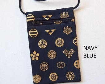 Pouch Zip Bag Japanese Navy Blue Fabric gold symbols.  Great for walkers, markets, travel. Cell Phone coin Pouch.  cross body Evening Purse.