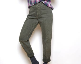 Vintage 80's GUESS High Waisted Army Green Jeans Sz 28W