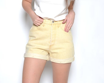 Vintage 80's GUESS Butter Colored High Waisted Shorts Sz 28W