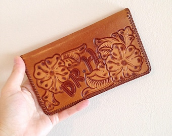 Vintage 1970s Tooled Leather Wallet