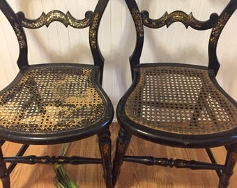 MOTHER of PEARL INLAY Victorian Chair w/Gilt Decoration, Antique Wood Chair, Cane Seat, 2 Chairs, Regency, Asian Decor at Ageless Alchemy