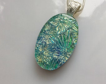 Dichroic Glass Pendant, Fused Glass Jewelry, Gold Green Blue Flower Starburst Necklace