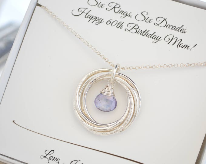 60th Birthday gift for mom, December birthstone necklace, Tanzanite birthstone necklace, 60th birthday gift for women, 6 Rings necklace