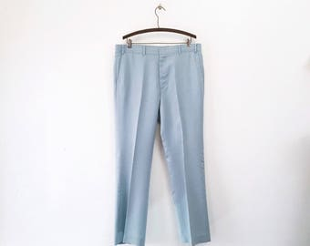 "1970s Men's LEVI'S Polyester ""Action Slacks"" Vintage Light Blue Disco Era Polyester Pants / Trousers by Levi's Sportswear - Size LARGE to XL"