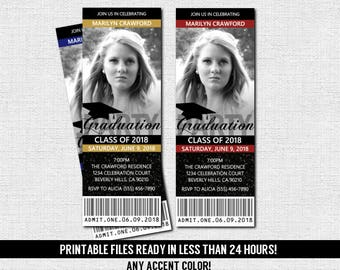 GRADUATION PARTY TICKET Invitations or Announcement - Class of 2018 - 2019 (print your own) Personalized Printable File - Grad Celebration