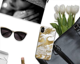 Phone case with monogram Marble cellphone case with faux gold foil Gift for her Fits iPhone 4/4s 5/5s 6/6s 7 8 5c SE X and Plus (1825)