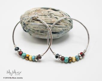 Hoop Earrings, Bohemian Earrings, Seed Bead Earrings, Hoops, Boho Hoops, Beaded Hoops, Boho Jewelry, Colorful Earrings, Big Earring