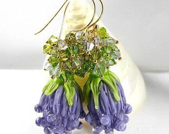 Lavender earrings lampwork Murano/vermeil 14carats crystal.