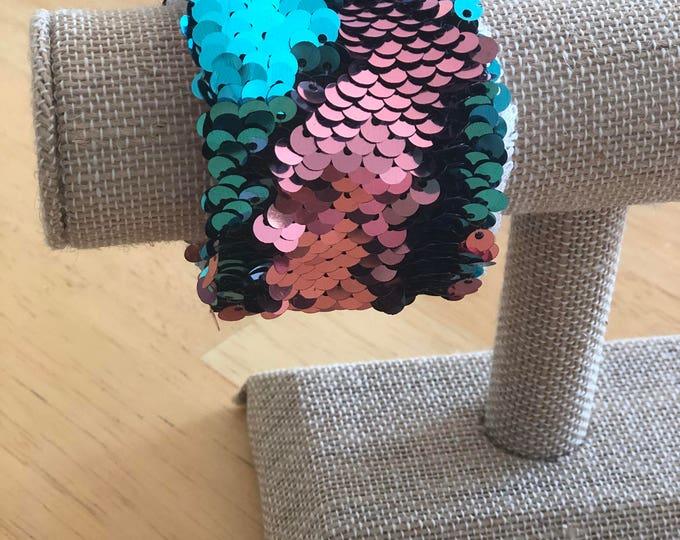 Teal and Rose Pink Mermaid Sequin Bracelet, Dress Up Bracelet, Kids Bracelet, School Spirit, Flip Sequins, Double Sided Sequin, Fidget Brace