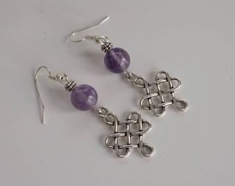Purple Amethyst Gemstone Earrings, Women's Earrings, Purple Dangle Earrings
