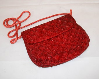 Vintage Red Beaded Evening Bag