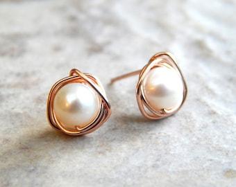 Pearl Stud Earrings, 14k Rose Gold Pearl Earrings, AA Freshwater Pearl Earrings Silver/Gold Gift for Women,Bridesmaids Gifts, Birthday Gift