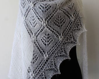 White lace kidsilk shawl, hand knit wedding shawl, romantic Estonian lace, bridal shawl, mohair wrap, triangular cover up, kerchief, tippet