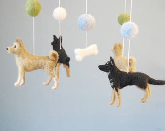 Baby Mobile With Custom Made Dogs and Felt Balls, Needle Felted Dogs, Nursery Decor, Lovely Baby Shower Gift - made to order
