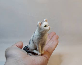 Needle Felted Cat,  SMALL SIZE, Custom Made Pet Sculpture, Needle Felted Cat Miniature, Commemorative Pet Portrait - made to order
