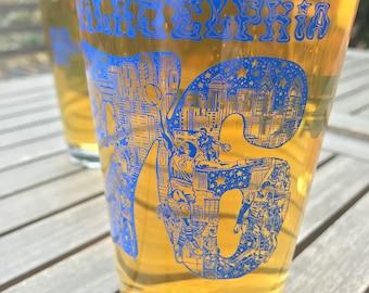 Philadelphia 76 on Glassware -- Paul Carpenter Art -- Philly Beer Pint Glass