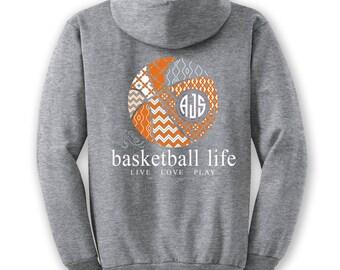 OFFICIAL TM Basketball Life™ Custom Monogram Hoodie Basketball Shirt