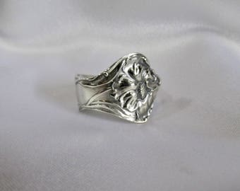 Spoon Ring Poppy Art Nouveau Sterling Silver Symbolic of Inspiration