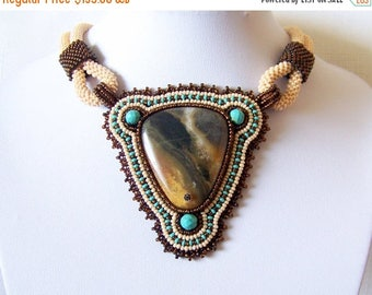 40% SALE Statement Beadwork Bead Embroidery Pendant Necklace with Multi-Color Amazonite - AMBER SONG - Fall Fashion - Creamy - brown