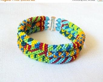 15% SALE 3 Strand Colorful  Multicolor Bead Crochet Bracelet - Bright Geometrics - summer bracelet - summer fashion bracelet