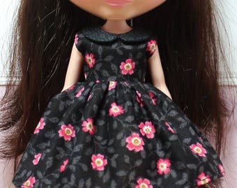 BLYTHE doll collared party dress - night flowers