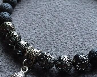 Black Lava Bracelet Stone Men's Women's Beaded Stretch Charm Boho Zen Buddha 8 Inch