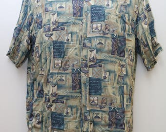 "90's Vintage ""PIERRE CARDIN"" Abstract Patterned Short-Sleeve  Shirt Sz: MEDIUM (Men's Exclusive)"