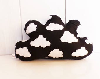 Cushion cloud black/white clouds fabric decoration