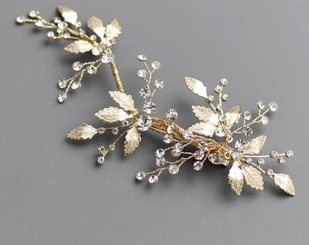 Floral Gold Bridal Hair Clip, Gold Bridal Hair Comb, Floral Wedding Hair Comb, Bridal Comb, Wedding Comb, Gold Headpiece, Floral Clip - 7016
