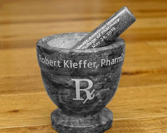 Pharmacist Personalized Black and Gray Marble Mortar and Pestle PharmD Pharmacist Retirement Pharmacy Graduation