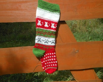 Personalized Christmas Stocking Hand Knitted With Kats Christmas Gift Christmas Decoration