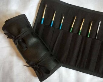 Handmade Artificial-Leather and Cotton Tool Roll