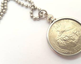 South Dakota State Quarter Coin Necklace with Stainless Steel Ball Chain or Key-chain - 2006