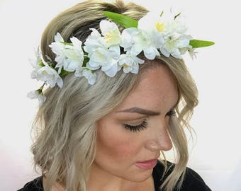 The Aria - Ivory Floral Crown Head Wreath Halo