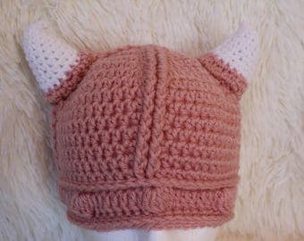 Pink Crochet Viking Hat