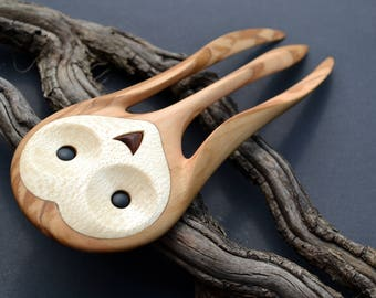Wooden Barn Owl Hairfork, handcarved from domestic and exotic woods