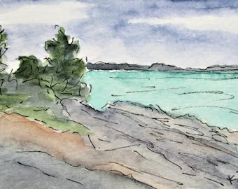 Original Maine Painting Pemaquid Point Watercolor Pen Ink Painting Original Maine Art by Kathleen Daughan Massachusetts Western Avenue