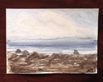 Watercolor Sea, Coastal Painting, Handpainted Postcard, Sea Art, Cloudy Day, Sky